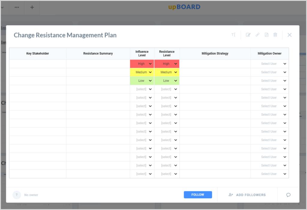 Change Resistance Management Plan Online Template