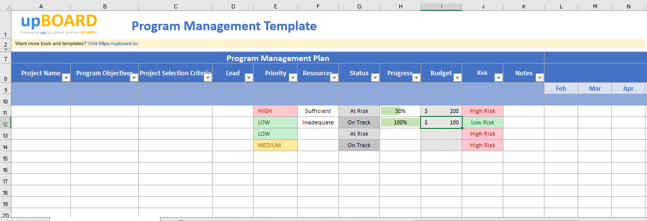 Program Management Template - Free Excel Tool