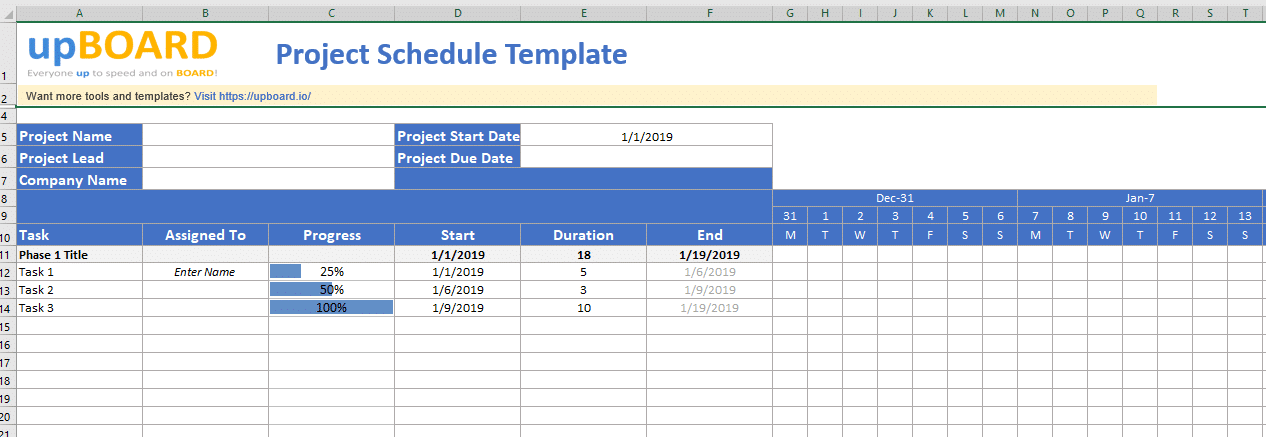 Project Schedule Digital Online Tools Templates