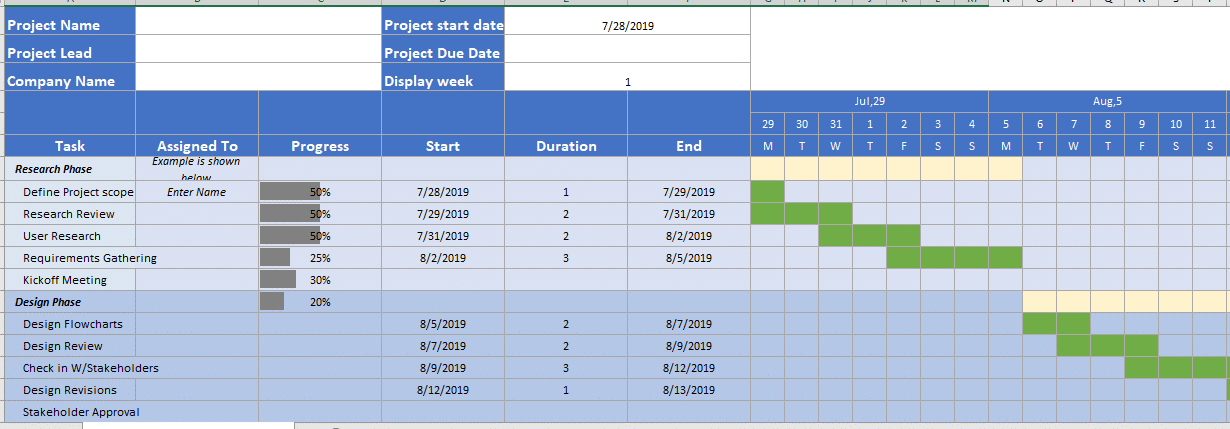 Waterfall Project Management - Free Excel Tool